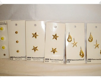 Assorted Buttons & Charms/Gold tone/ Craft Supplies/ (#017)*