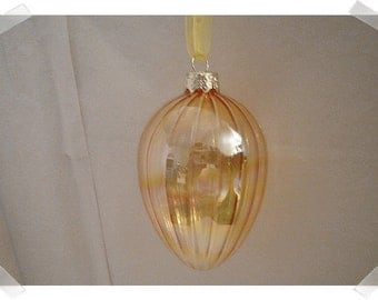 Glass Egg Ornament/Yellow Color/ Holiday Decor*