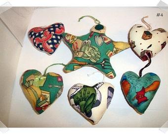 Heart/Star Ornaments/Set of 6/ Printed Fabrics /Handmade**
