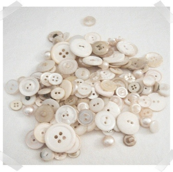 Over 5 ounces Assorted White Buttons/FREE SHIPPING