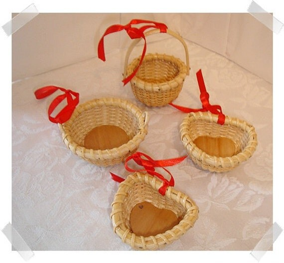 Wicker Basket Ornaments/Set of 4 Small/ Craft Supplies**
