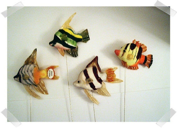 Set/4 Mushroom Fish w/Wire Picks/FREE SHIPPING