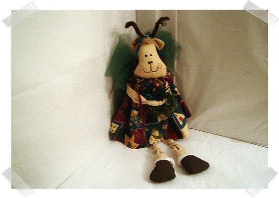 Reindeer Angel Sitter/Muslin Fabric/Handmade**