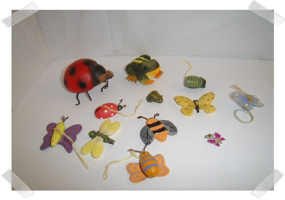 Assorted Lot of 13 Bug/Frog Embellishments/FREE SHIPPING