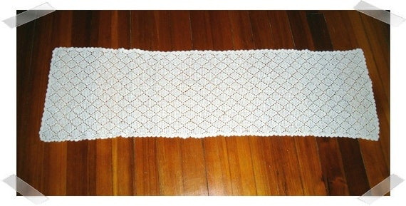 Soft Light White Color Cotton Runner/FREE SHIPPING/SALE- 10% off