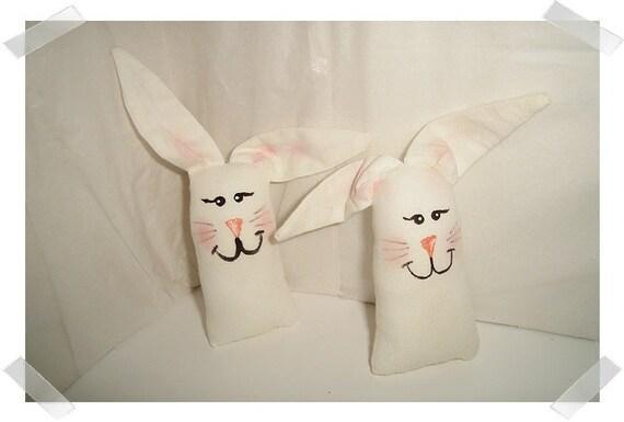 Set/2 White Muslin Pocket Bunnies/FREE SHIPPING