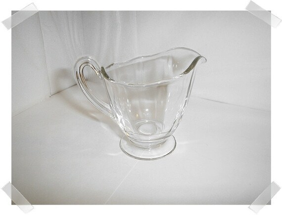 Vintage Clear Glass Pitcher with handle/Small