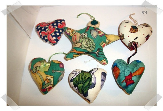 Set/6 Fabric Heart/Star Ornaments/FREE SHIPPING