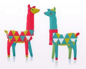 Lovely festive llamas, printable paper ornament kit. Download instantly this DIY template/pattern to print & make 3 llamas- by Happythought.