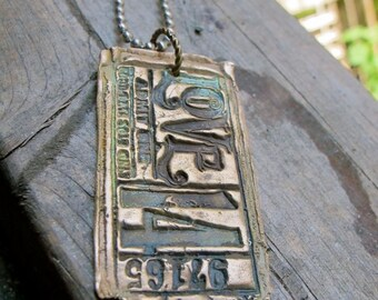 Custom BRONZE Vintage LOVE Ticket Dog Tag