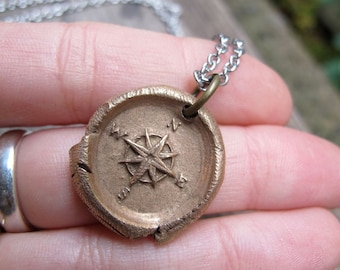 Internal Compass Wax Seal Pendant
