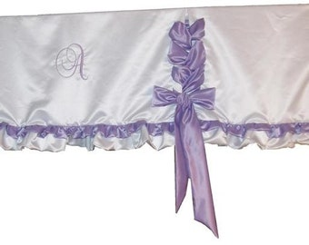 Custom Made Lace Up Style Valance with Monogram, select fabric & Color for windows up to 36 W