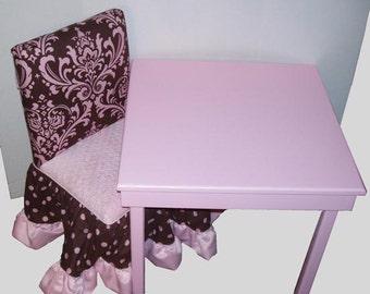Children's Table and 2 chairs skirt w/ruffle (custom)