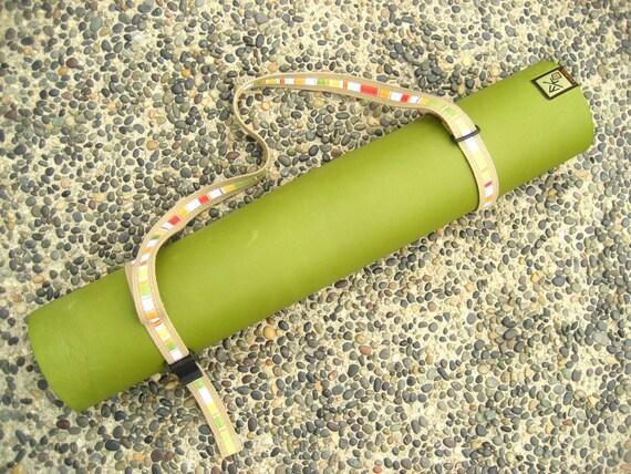 Unisex Strap a Mat YOGA MAT SLING Tote & Yoga Strap in Tan Webbing w/ Citrus Stripe Ribbon