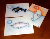 Postcard Trio- Friendly Whales