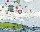 Colorful Hot Air Balloons Illustration - 8x10 Print