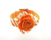 Couture Dog Collar, One Perfect Rose Collection (White/Orange), Zebra, Animal Print