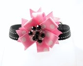 Couture Dog Collar, Whimsey Collection (Pink/White/Black), Striped with Polka Dots