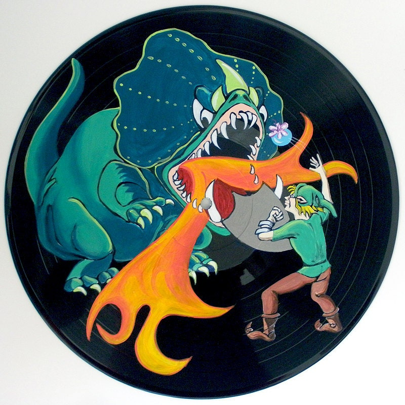Up Cycled Vinyl Record King Dodongo The Infernal Dinosaur