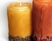 Organic Spice Pillar - Pure Beeswax, Cinnamon, Cloves, Roses, Lavender - Unique Natural Candles by Artist Marcie Forest