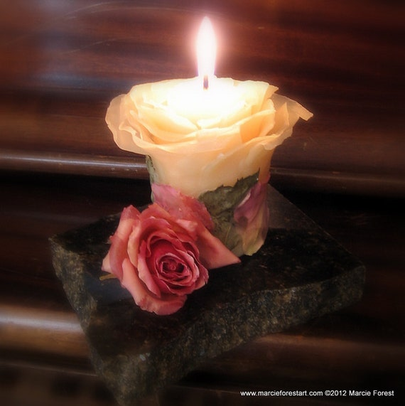 Rose Candle Sculpture - Wedding Gift, Unity Candle, Memorial Candle, Table Decor - Beeswax, Roses, Stone Base - by Artist Marcie Forest
