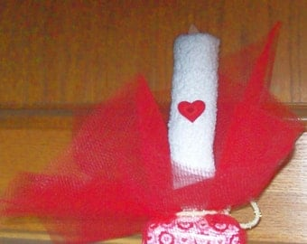 Washcloth and Soap Valentine Candle