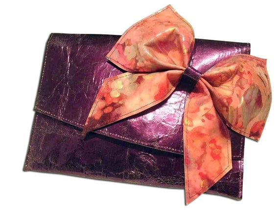 Royal Purple metallic leather beautiful bow clutch bag
