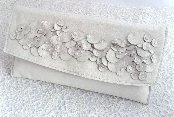 Wedding Bridal Clutch bag with wrist strap in white leather with bead embellishment. Something Old, something new, something borrowed...