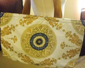 Gorgeous Upcycled Blue, Gold, and White Tapestry Style Print Handy Large Beach Tote, Weekend Bag, Large Purse, Book Bag Made of Recycled Materials