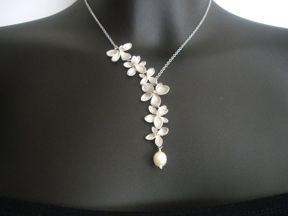 Flower Lariat Necklace, Orchids Necklace, Asymmetrical Necklace, Bridal Necklace, Best friend Necklace
