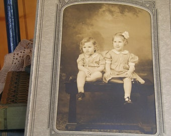 Vintage  Brother and Sister Photograph