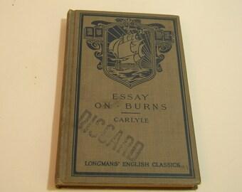 Essays On Burns Longmans' English Classics Book