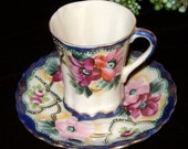 cobalt blue and magenta floral antique demitasse Nippon chocolate cup and saucer set teacup tea cup coffee cup