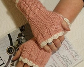 Fingerless Mittens - Cables n' Cream -Dainty Pink Wristwarmers by Magentaskystudio on Etsy