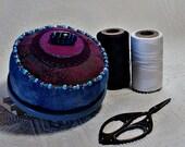 Pincushion - Blue Bali Beaded Pincushion