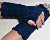 Fingerless Mittens - Dark Blue -  Cozy Wristwarmers by Magentaskystudio on Etsy