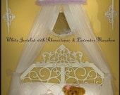 PRINCESS Crown Bedroom Canopy White with Jewels and Lavender Boa