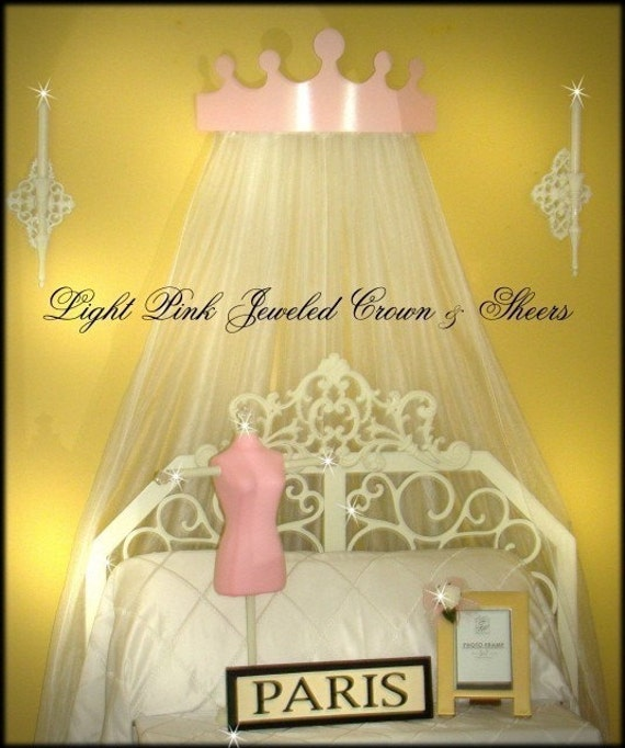 Light Pink Princess Jeweled Crown Tiara Bedroom Canopy WITH CURTAINS