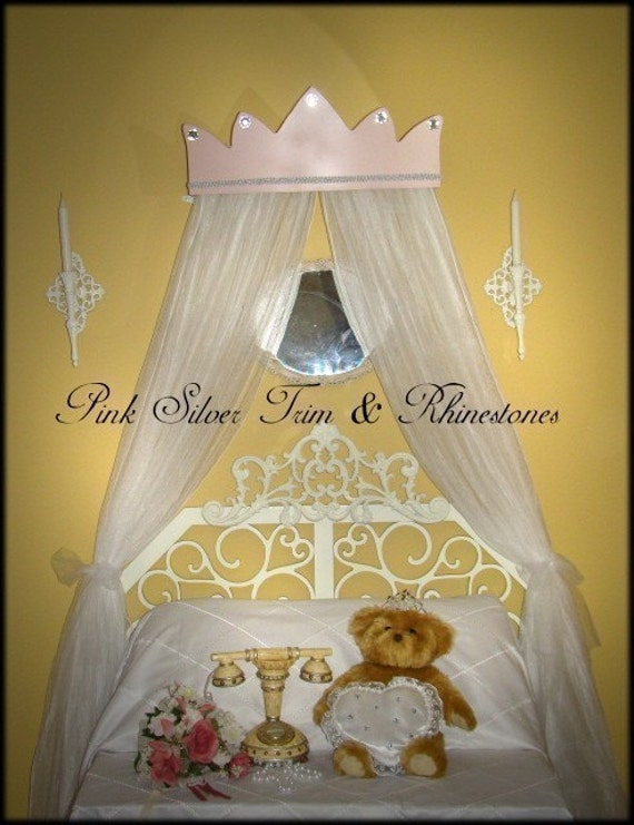 Princess Pink Bed Canopy Crown With Silver Trim And