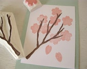 Japanese sakura stamp set - cherry blossom branch and flower set - Hand carved rubber stamp