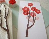 Japanese ume stamp set - Plum tree branch and flower - Hand carved rubber stamp