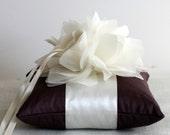 Wedding Ring Pillow-Lindsey Handmade Ivory Silk Flower with Eggplant
