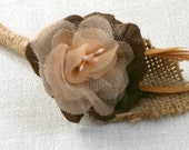 Groomsmen Boutineer -Pale Peach ,Chocolate & Caramel with Feathers and Burlap