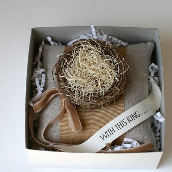 Wedding Ring Pillow - Olivia Style Khaki Italian Crepe Linen, Caramel Vintage  Ribbon & a Bird's Nest