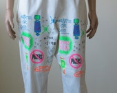 Skate or Die 80s Skateboard Shorts, White, Neon Graffiti, Old School