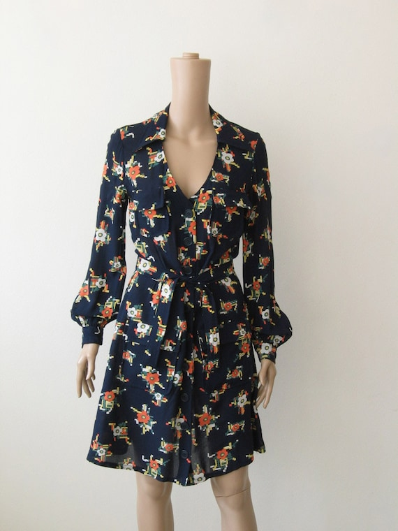 70s Floral Shirt Dress Geometric Print Bloussant Dress V-Neck Lapels