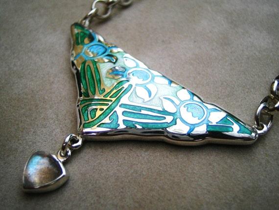 Sterling Silver Enamelled Art Nouveau Flower Necklace Pendant with Labradorite