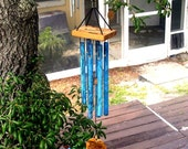 WOODLAND--Copper Wind Chime with blue patina