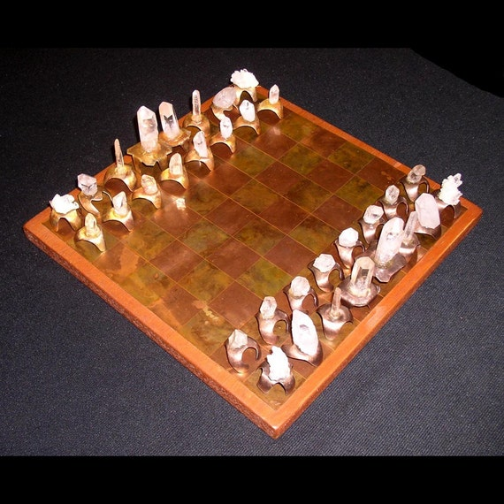 Copper and Quartz Crystal CHESS SET---ON SALE