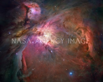 Pink Orion Nebula, outer space, solar system photo, stars, night sky, universe, NASA, Hubble telescope, galaxy, interstellar, astronomy
